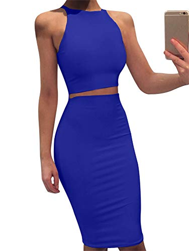 GOBLES Women Sleeveless Bodycon 2 Piece Midi Skirt Outfits Halter Cocktail Dress Royal Blue