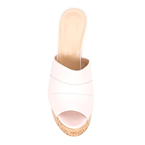 Amy High Sandals Suede Wedge 37 Cork Faux Q Heel Pink Slides Peep Platform Size Toe Women's Mules rqRB1wfr