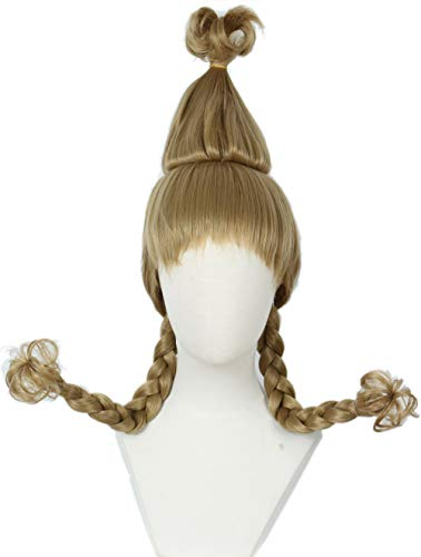 Linfairy Christmas Girl Wig with Wire Braids Halloween Cosplay Costume Wig for ()