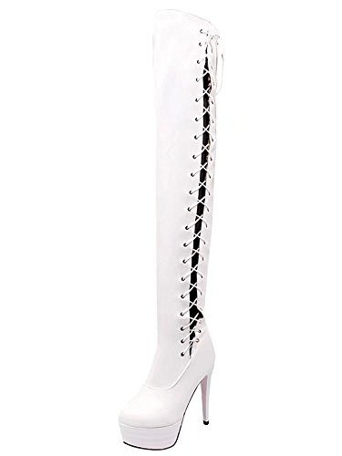AIYOUMEI Womens Patent Leather Lace Up Platform Stilettos Autumn Winter Over The Knee Boots White cHTJHyLqPZ