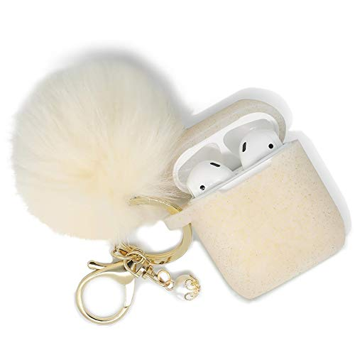 Airpods Case - Filoto Airpods Silicone Cute Glittery Case Cover with Keychain/Strap for Apple Airpod (Gold) by Filoto