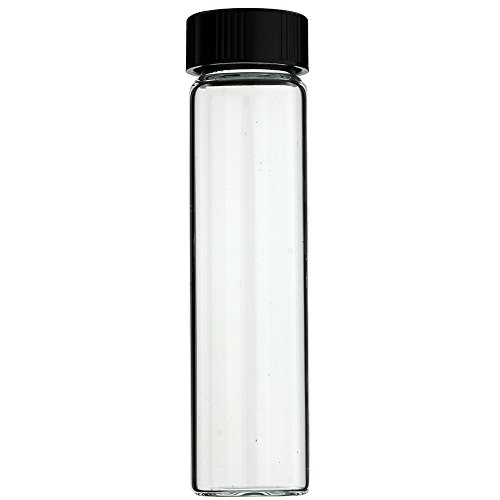 288-PC 4 DRAM 15 ml 1/2 oz CLEAR GLASS VIALS WITH BLACK SCREW CAPS - MADE IN USA]()