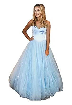 Jonlyc Adorable Sweetheart Sparkly Tulle Prom Ball Gowns Quinceanera Dress Sweet 16 Dress Light Blue 18W