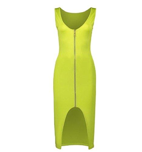 Verde Di Vestito Maglia Unita Dell'anca donne Fino In Spaccatura Casuale Base Maniche Canotta Del Sottile Tinta Coolred Pacchetto Zip Tgf7qBfw