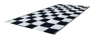 EZ Travel Mats RV Patio Mat Awning Mat: 9x18 Black U0026 White Checkered Flag  Mat