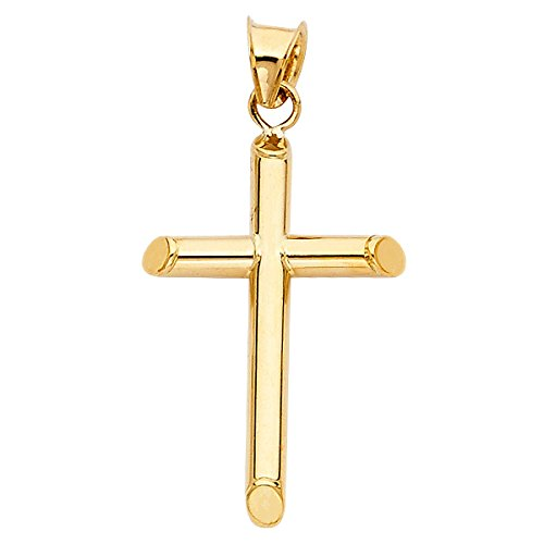 14K Yellow Gold Classic Cross Pendant - Jesus Engraved Pendant with Polished Finish - Gold Stamped Religious Based Fine Jewelry - Great Choice for Women, Teens, and Children, 28 x 18 mm, 1.1 GMS