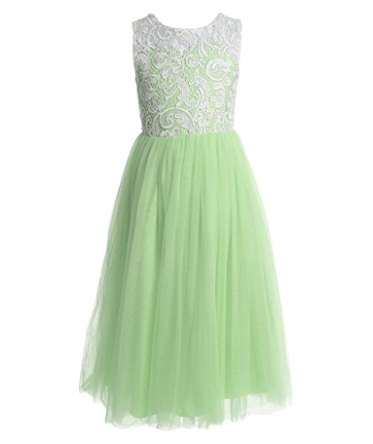 FAIRY COUPLE Girl's A-line Illusion Neck Lace Flower Girl Party Dress K0171 8 Lime (Green Fairy Dress)