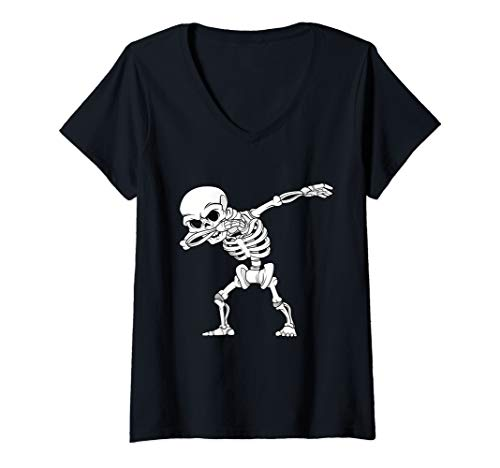 Light Up Halloween T Shirt (Womens Kids Dabbing Skeleton Bones Halloween Dab Dance Costume V-Neck)