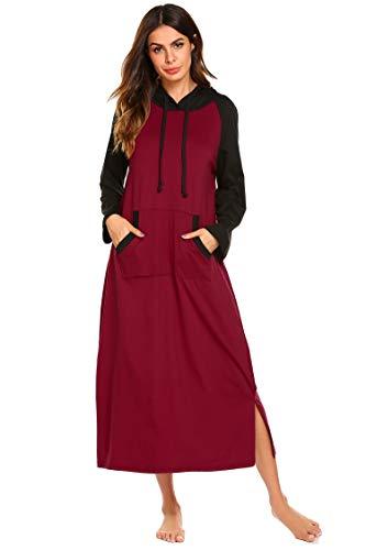 (Ekouaer Womens Modal Long Sleeve Nightgown,Casual Full Length Long Sleep Dress,Wine Red,Large)