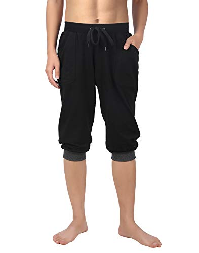 3/4 Yoga Pant - HDE Men's Cotton Casual Shorts 3/4 Workout Jogger Capri Pants Breathable Below Knee Short Pant with Two Pockets, X-Large (Black w Gray Stripe)