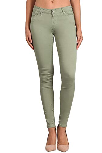 Celebrity Pink Women's Mid Rise Colored Skinny Pants CJ21038Z35 (Oil Green, 7/28)