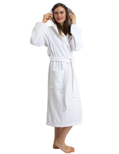 TowelSelections Women's Robe, Hooded Terry Velour Cotton Bathrobe Made in Turkey