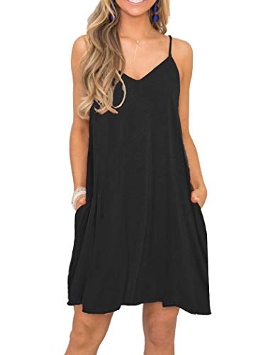 MISFAY Women's Summer Casual Loose T Shirt Dresses Beach Cover up Plain Tank Dress with Pockets (L, Black)