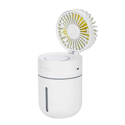 KingWo 2 In 1 Mini USB Portable 400ml Humidifier+Fan,Car Air Fan Diffuser Purifier Atomizer for Office Home Car (White)