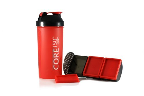 Core150® Attitude Shaker - Red - 35oz Protein Shaker Bottle. Contains easy stack removable storage with 3 compartments