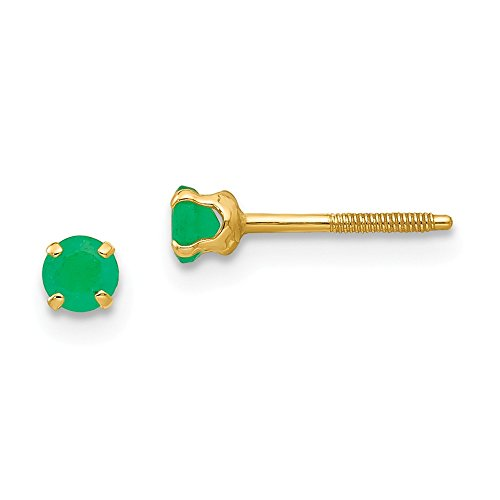 14k Yellow Gold 3mm Green Emerald Earrings Birthstone May Stud Gemstone Fine Jewelry Gifts For Women For Her