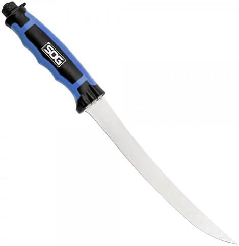 SOG BladeLight Fillet Knife w Light BLT32K-CP – Built-in 6 LEDs, Hard Molded Nylon Sheath, 7.5 Blade