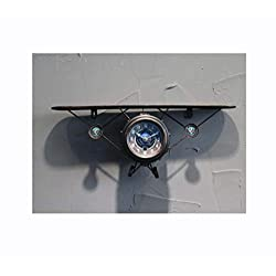 Retro Airplane Model Rack Wall Hanging Clock Wrought Iron Rack Watch,Brass