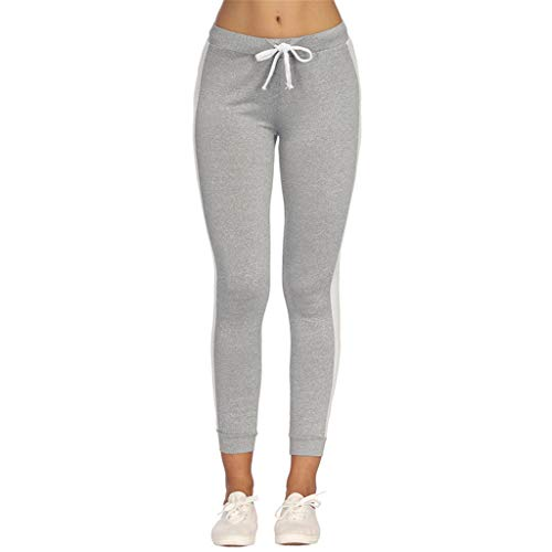 Price comparison product image wodceeke Women Casual Jogger Dance Striped Sport Pants Skinny Tracksuit Bottom Trouser Sweatpants (L,  Gray)