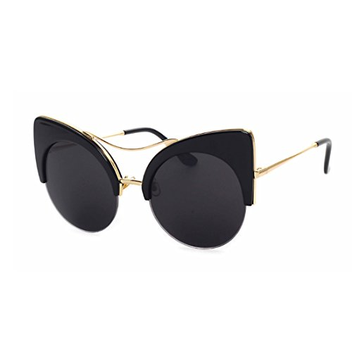 de de gato retro marco gafas Gafas ojo Medio Gafas Negro hombres y mujeres sol Yefree ITaRx5nq