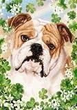 "Bulldog by Tamara Burnett St. Patricks Day Garden Dog Breed Flag 12"" x 17″"