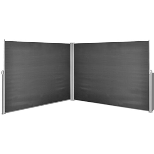 Festnight Retractable Double Folding Side Awning Screen Fence Patio Garden Outdoor Privacy Divider with Steel Pole 5.9'H x 19.7'W (Black)