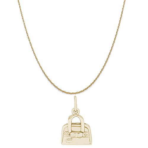 - Rembrandt Charms 14K Yellow Gold Hand Bag Purse Charm on a 14K Yellow Gold Rope Chain Necklace, 16