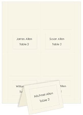 4up printable place cards embossed border ecru 25 pack - Printable Place Cards