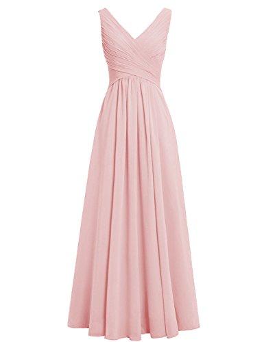 Brautjungfernkleider Erröten A Hochzeit Abendkleider Lang Kleider Chiffon Linie Festliche HUINI Ausschnitt Rückenfrei V Ballkleider FaxwOxA