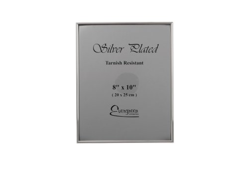 Evergreen Tarnish Resistant Silver Plated Thin Edge Photo/Picture Frame, 8x10 inch by Evergreen