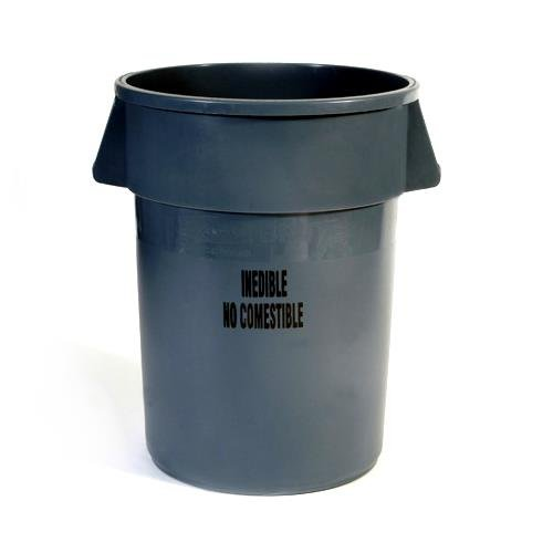 Rubbermaid Commercial FG264356GRAY Brute Plastic Trash Can without Lid, 44-gallon, Gray