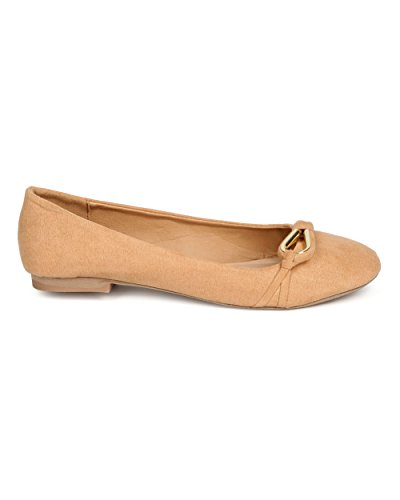 Qupid Ff08 Women Faux Suede Round Toe Loop Ball Ball Flat - Toffee