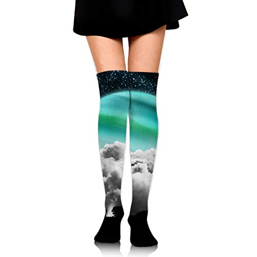 Green Moon High Knee Socks For Boots Long Dress Compression Polyester Sox Leg Tube Ideal ()
