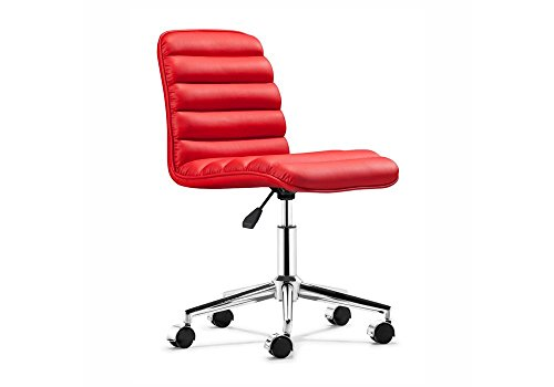 "Admire Armless Mid Back Chair Dimensions: 18.25""W x 23.5""D x 34.375""H Seat Dimensions: 18.334""Wx16""Dx18-21.2""H Red Vinyl/Chrome Frame"