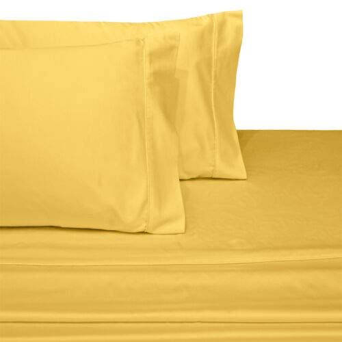 (Exquisitely Lavish Sateen Solid Weave Bedding by Pure Linens, 600 Thread Count 100-Percent Plush Cotton, 4 Piece Queen Size Deep Pocket Hemmed Sheet Set, Gold)