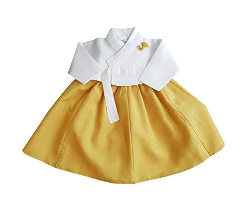100th Day Celebration Baek-il Hanbok Dress Girls Baby Korea Traditional Clothing 3-5 Months Yellow