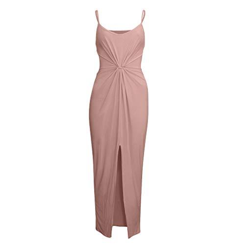 LYN Star ◈ Women 2019 Off Shoulder Side Split Slim Evening Maxi Party Dress Loose Plain Maxi Dresses Casual Long Dresses Pink (Best Dslr For Sports 2019)