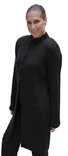 (Women's Soft Alpaca Wool Four-Button Knitted Cardigan Long Coat Sweater (XL, Black))