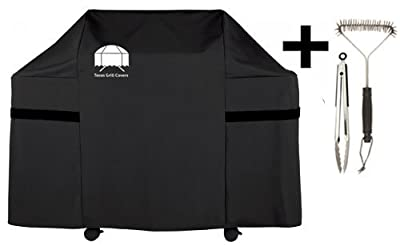 Texas Gas Grill Cover for Weber Genesis E and S Series Gas Grill 7553 | 7107 Premium Including Grill Brush and BBQ Tongs by Quality Choices