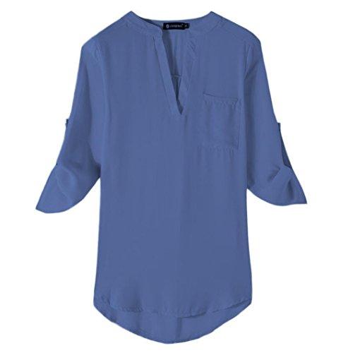 Automne Soie Loisirs Manches Bleu T Femme Couleur de Unie Lache Casual Blouse Chemisier de Longues Dcontract 1 Mousseline Lady Vest Col V Shirt Occasionnels Tops Chic wZAqI