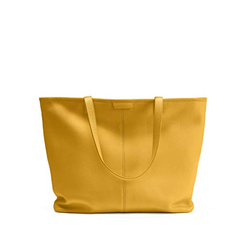 Large Zippered Downtown Tote - Full Grain Leather Leather - Turmeric ()