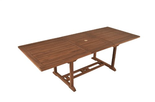 SAM® A Klasse Teak-Holz Gartentisch, Ausziehtisch Serang, Holztisch mit Sonnenschirmloch, aus Massivholz, ideal für den Garten