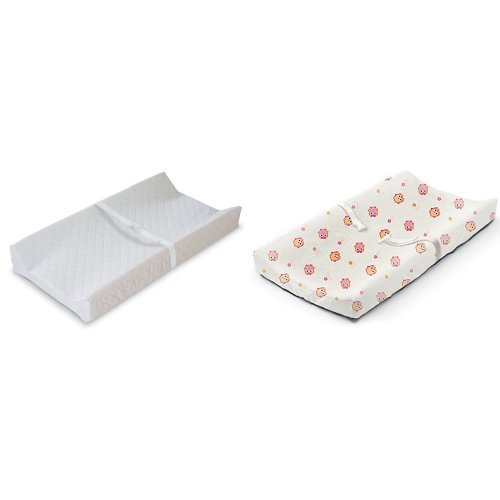 Summer Infant Contoured Changing Pad White with Changing Pad Cover Owl Town Girl