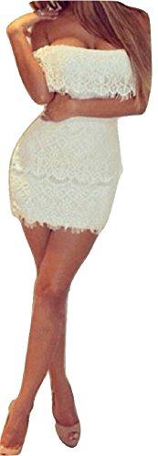 Nuevas señoras encaje blanco apagado hombro volantes Mini vestido Club Wear tarde Festival de fiesta ocasión especial Tamaño UK 10–�?2EU 38–�?0