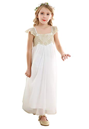Bow Dream Vintage Rustic Baptism Lace Flower Girl's Dress Gold Top 4T -