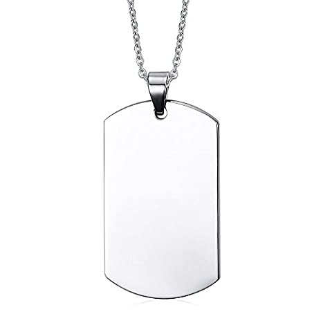 Free Engraving-Personalized Custom Message Stainless Steel Dog Tag Necklace Pendant,Silver - Stainless Dog Tag Fashion Necklace