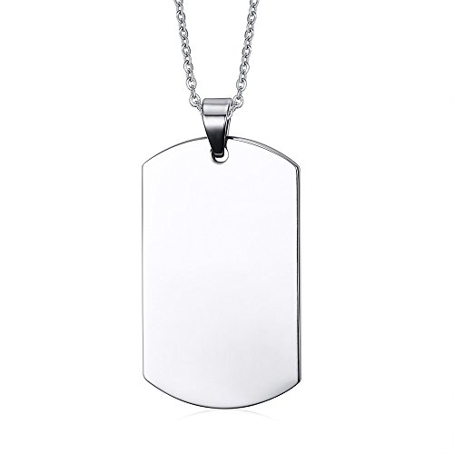 Tag Silver Dog Marine - Free Engraving Stainless Steel Personalized Custom Your Message Dog Tag Necklace for Men,Gift for Him