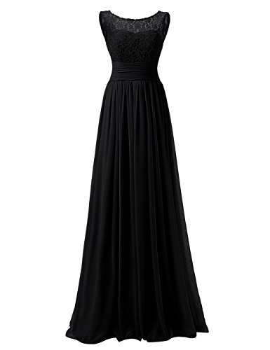 Dressyu Scoop Neck Chiffon Lace Bridesmaid Dresses Long Prom Bridal Gowns at Amazon Womens Clothing store: