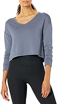 Amazon Brand - Core 10 Women's Cloud Soft Cropped Flow V-Neck Relaxed Fit Yoga Sweats
