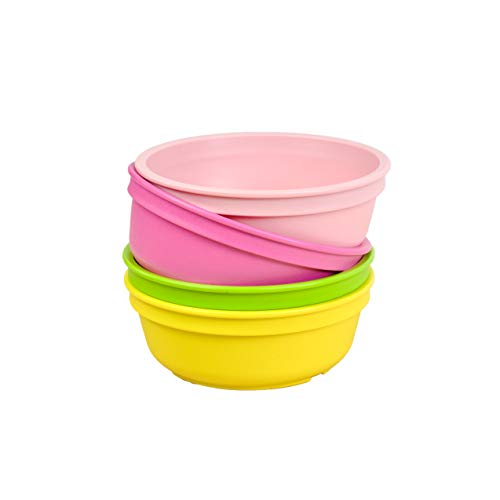 Re-Play Made in The USA 4pk Bowls for Easy Baby, Toddler, and Child Feeding - Bright Pink, Blush, Lime Green, Yellow (Tulip+)